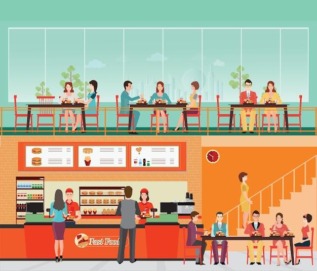 Ludzie kupują fast food w restauracji fast food wnętrze z hamburgerów i napojów.