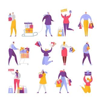 Ludzie kupują prezenty kobiety, postacie mężczyzny kupujące prezenty na świąteczną wyprzedaż. ilustracyjny ustawiający szczęśliwi klienci skacze mienie teraźniejszość, zakupy i torby odizolowywających na bielu