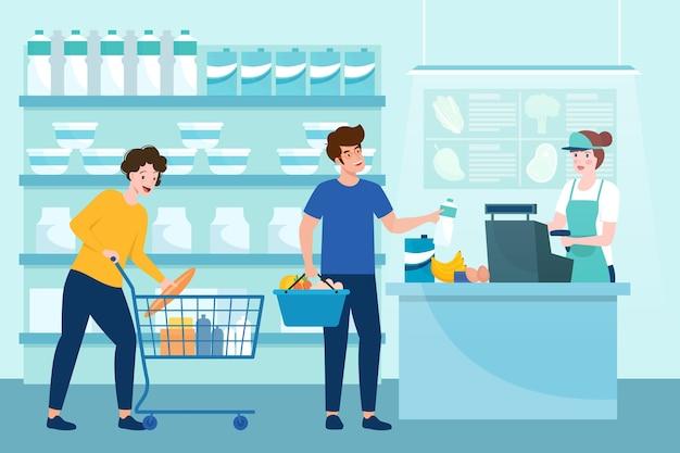 Ludzie kupujący artykuły spożywcze