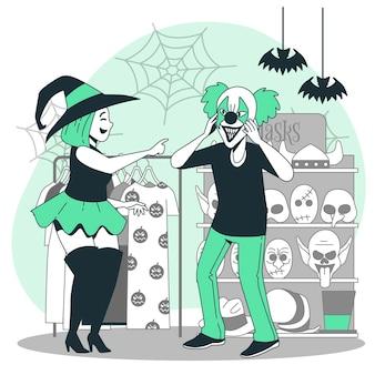 Ludzie kupujący ilustracja koncepcja rzeczy halloween