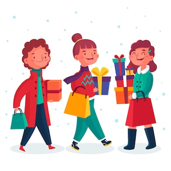 Ludzie kupujący prezenty świąteczne ilustracje paczka