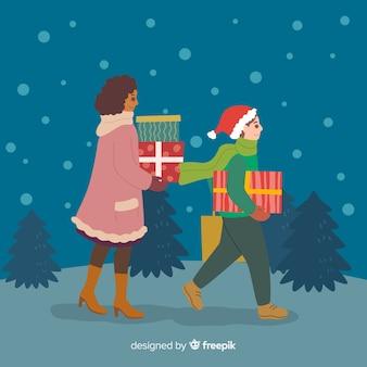 Ludzie kupujący prezenty świąteczne razem