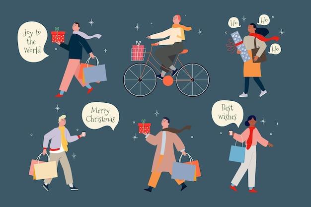 Ludzie kupujący prezenty świąteczne