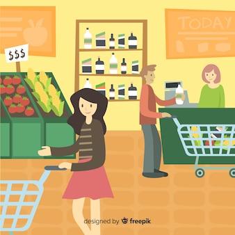 Ludzie kupujący w supermarkecie