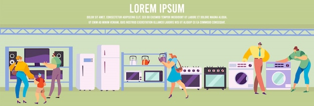 Ludzie kupuje gospodarstwo domowe elektronikę i kuchennych urządzenia, ilustracja