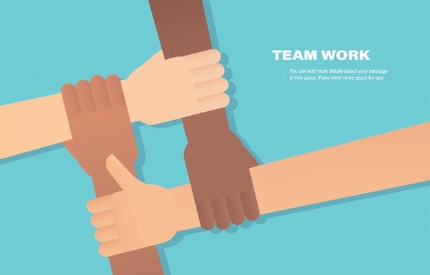 Ludzie łączą ręce. wolontariusz