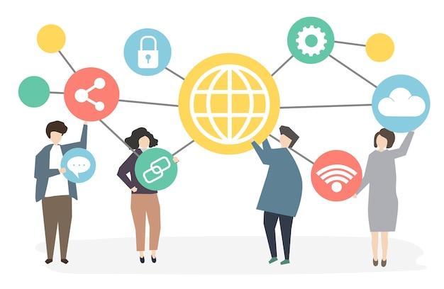 Ludzie łączą się za pomocą technologii