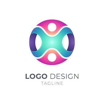 Ludzie łączą szablon logo
