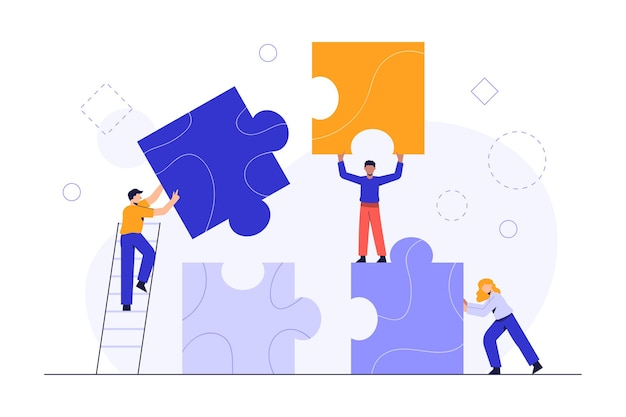 Ludzie łączący elementy układanki. pomysł na biznes. metafora zespołu. biznesowa praca zespołowa z kawałkami