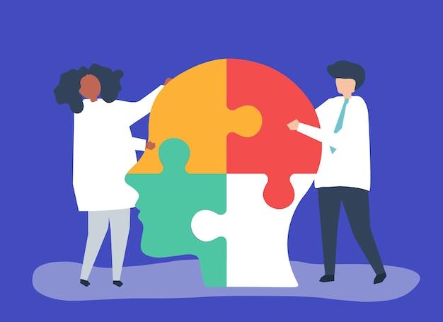 Ludzie łączący kawałki układanki głowy razem