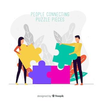 Ludzie łączy łamigłówka składają kolorowego tło