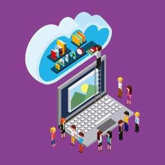 Ludzie laptop łączą przesyłanie danych