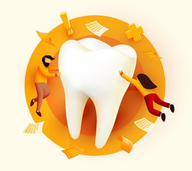 Ludzie latający wokół duży ząb klinika stomatologiczna pielęgnacja zębów strona internetowa prezentacja banera ankieta online ze znakami