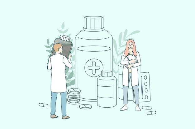 Ludzie lekarze farmaceuci pracujący między butelkami leków i słoikami