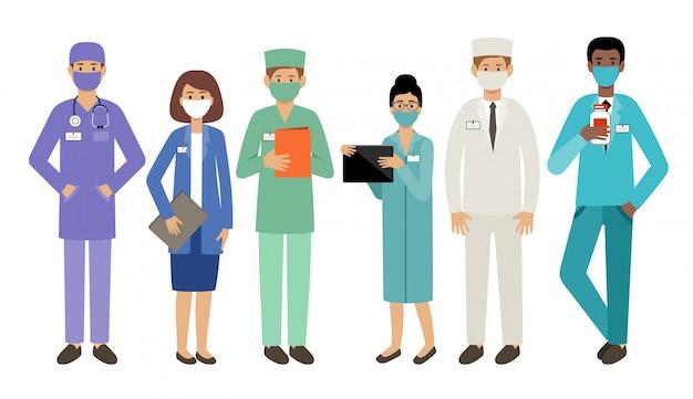 Ludzie lekarze w maskach medycznych. epidemia. wirusolodzy