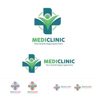 Ludzie logo opieki zdrowotnej, medycyna kliniki emblemat