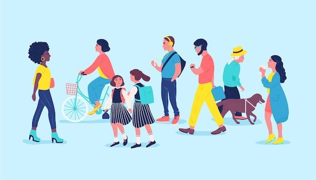 Ludzie lub przechodnie na ulicy. przechodzący mężczyźni, kobiety i dzieci, spacerujący, jeżdżący na rowerze, słuchający muzyki. współcześni mieszkańcy miast, miejski styl życia. ilustracja wektorowa kolorowe w stylu cartoon płaskie.