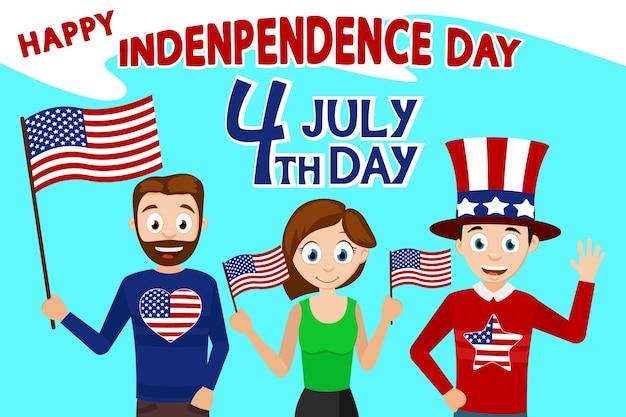 Ludzie machający amerykańskimi flagami świętują czwarty lipca. dzień niepodległości usa.
