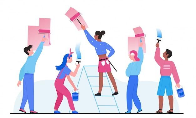 Ludzie malują ilustrację ściany domu. kreskówka mieszkanie mężczyzna kobieta pracownik grupa znaków maluje ścianę wałkiem lub pędzlem, malarz dekorator pracuje nad dekorowaniem pokoju w domu na białym tle