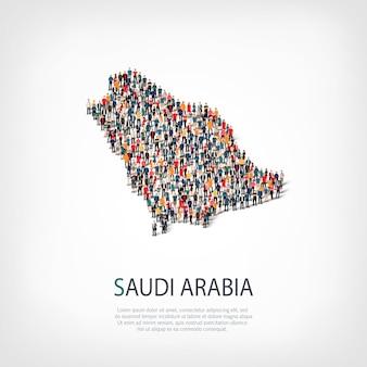 Ludzie, mapa arabii saudyjskiej. tłum tworzący kształt kraju.
