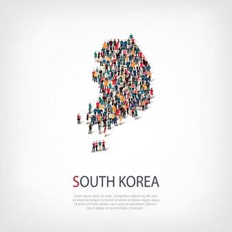Ludzie, mapa korei południowej. tłum tworzący kształt kraju.