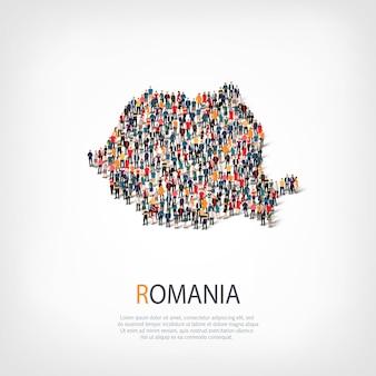 Ludzie, mapa rumunii. tłum tworzący kształt kraju.