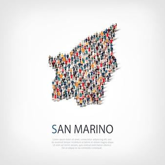 Ludzie, mapa san marino. tłum tworzący kształt kraju.
