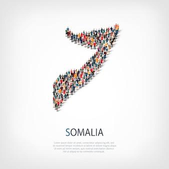 Ludzie, mapa somalii. tłum tworzący kształt kraju.