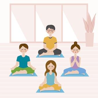 Ludzie medytujący w pozycji lotosu