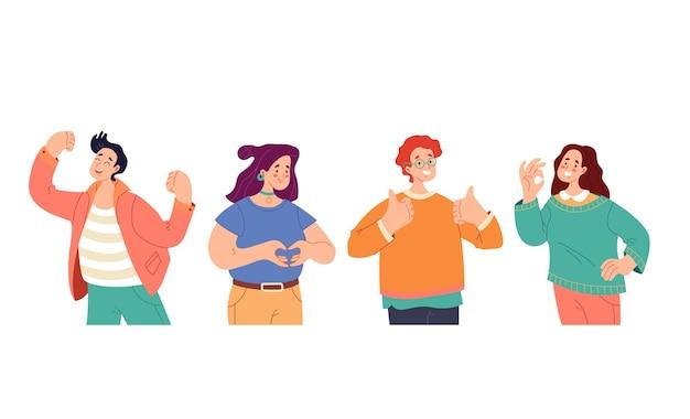 Ludzie mężczyzna kobieta chłopcy dziewczęta postacie z pozytywnymi emocjami i zestaw gestów mieszkanie