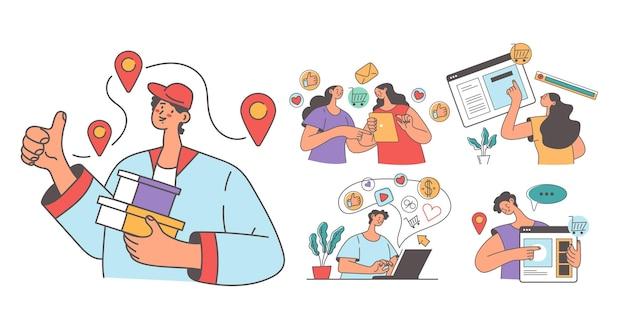 Ludzie mężczyzna kobieta konsumenci dokonujący zamówienia w sklepie internetowym zakupy online dostawa abstrakcyjna koncepcja na białym tle zestaw ilustracja projekt płaski nowoczesny styl