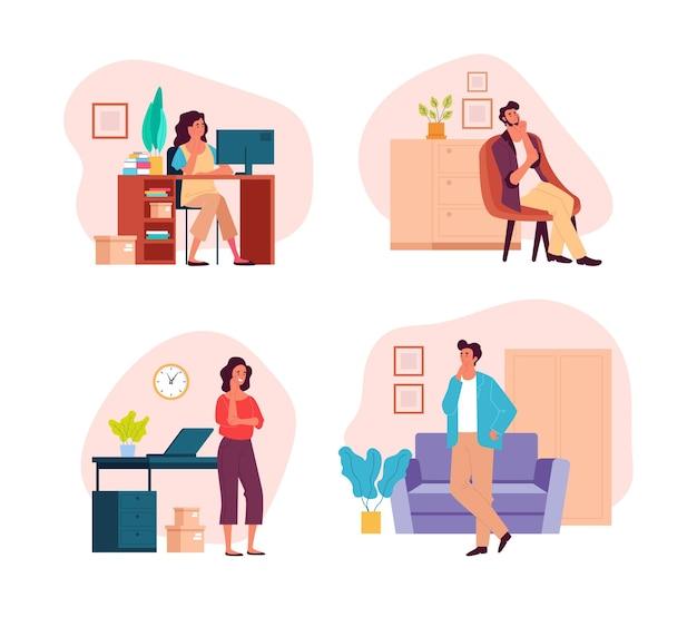 Ludzie mężczyzna kobieta postacie pozostają w domu i marzą myślenie ilustracja koncepcja