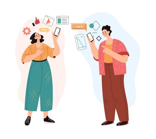Ludzie mężczyzna kobieta postacie za pomocą telefonu i mediów społecznościowych