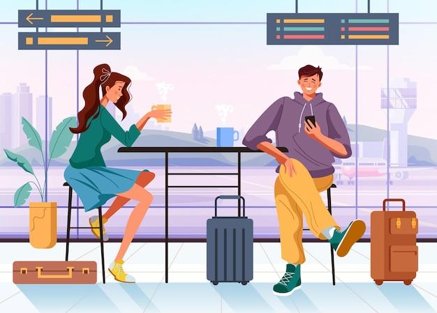 Ludzie mężczyzna kobieta turyści postacie podróżnych czekających przyjazd koncepcja samolotu