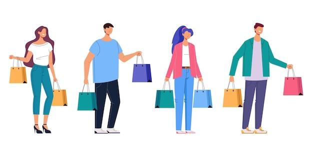 Ludzie mężczyzna kobieta z torba na zakupy na białym tle zestaw.