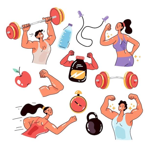 Ludzie mężczyzna kobieta znaków ćwiczenia sport siłownia kulturystyka trening sportowy na białym tle zestaw ilustracja projekt płaski nowoczesny styl