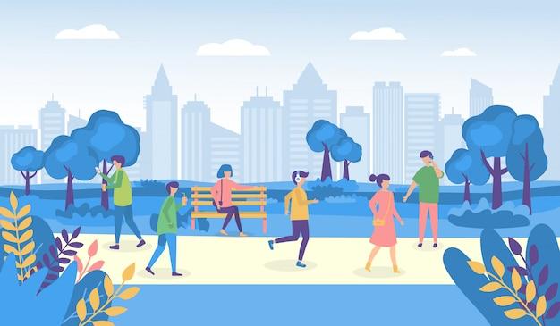 Ludzie miasta idący do parku lub na ulicę i do parku ilustracje, postacie kobiety mężczyzny na świeżym powietrzu
