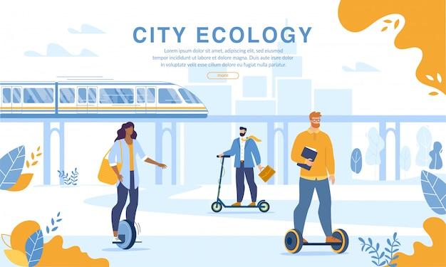 Ludzie miasta jadący ekologicznym transportem osobistym