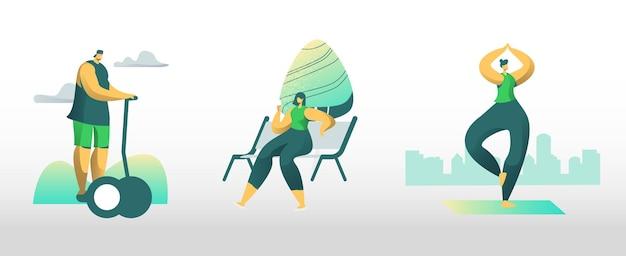 Ludzie miasta mieszkańców aktywności na świeżym powietrzu. postacie męskie i żeńskie spędzają czas w parku publicznym, jeżdżąc deskorolką, jedząc lody, ćwicząc jogę lub fitness. ilustracja kreskówka płaskie wektor