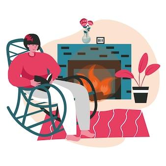 Ludzie miłośnicy literatury z koncepcją książki scena. kobieta czyta siedząc w bujanym fotelu przy kominku. zajęcia dla ludzi nauki, hobby i wypoczynku. ilustracja wektorowa postaci w płaskiej konstrukcji