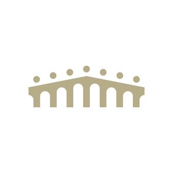 Ludzie most grupa siedem 7 społeczności połączenie rodzinne praca zespołowa logo wektor ikona ilustracja