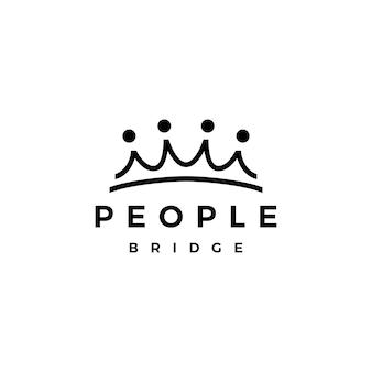 Ludzie most korona grupa cztery 4 społeczność połączenie rodzinne praca zespołowa logo wektor ikona ilustracja