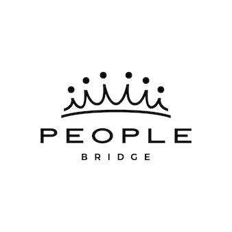 Ludzie most korona grupa sześć 6 społeczności połączenie rodzinne praca zespołowa logo wektor ikona ilustracja