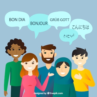 Ludzie mówiącymi różnymi językami o płaskiej konstrukcji