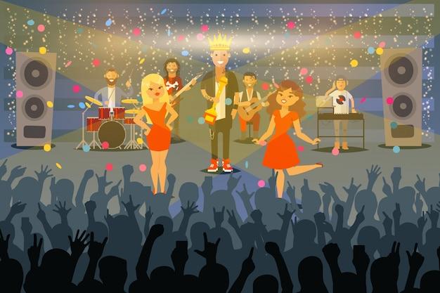 Ludzie muzyków wykonują przy koncertem w frontowym społeczeństwie, ilustracja. zespół muzyczny otrzymuje nagrodę na scenie, słynny piosenkarz