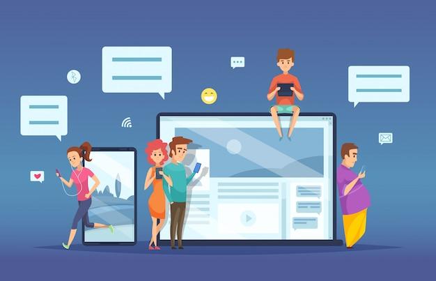 Ludzie na czacie. męski żeński datowanie smartphone laptopu pastylki wirtualnego dialog online opowiada rozmowę kreskówki wektorowym pojęciem