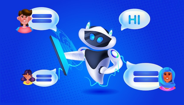 Ludzie na czacie z chatbotem robotem asystentem komunikacja online koncepcja technologii sztucznej inteligencji pozioma ilustracja wektorowa