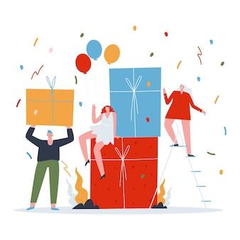 Ludzie na imprezie z dużymi pudełkami prezentowymi mężczyzna przyniósł prezent uroczystość w gronie przyjaciół mieszkanie