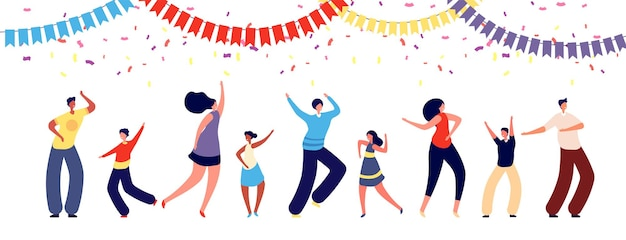Ludzie na imprezie. zabawna grupa taneczna.
