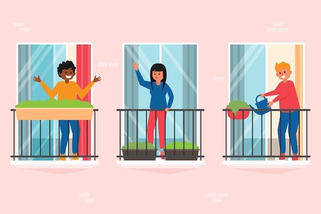 Ludzie na koncepcji balkonów